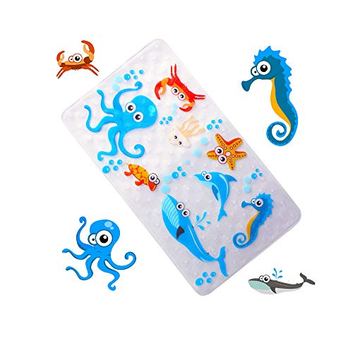 WARRAH None-Slip Tub Kids Bath Mat - Premium Square Anti ...